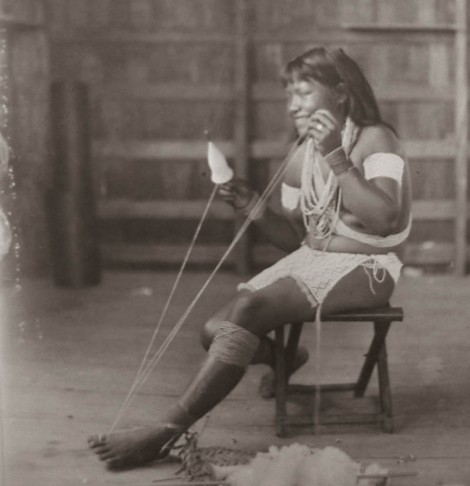 An Aboriginal Indian Woman spinning cotton